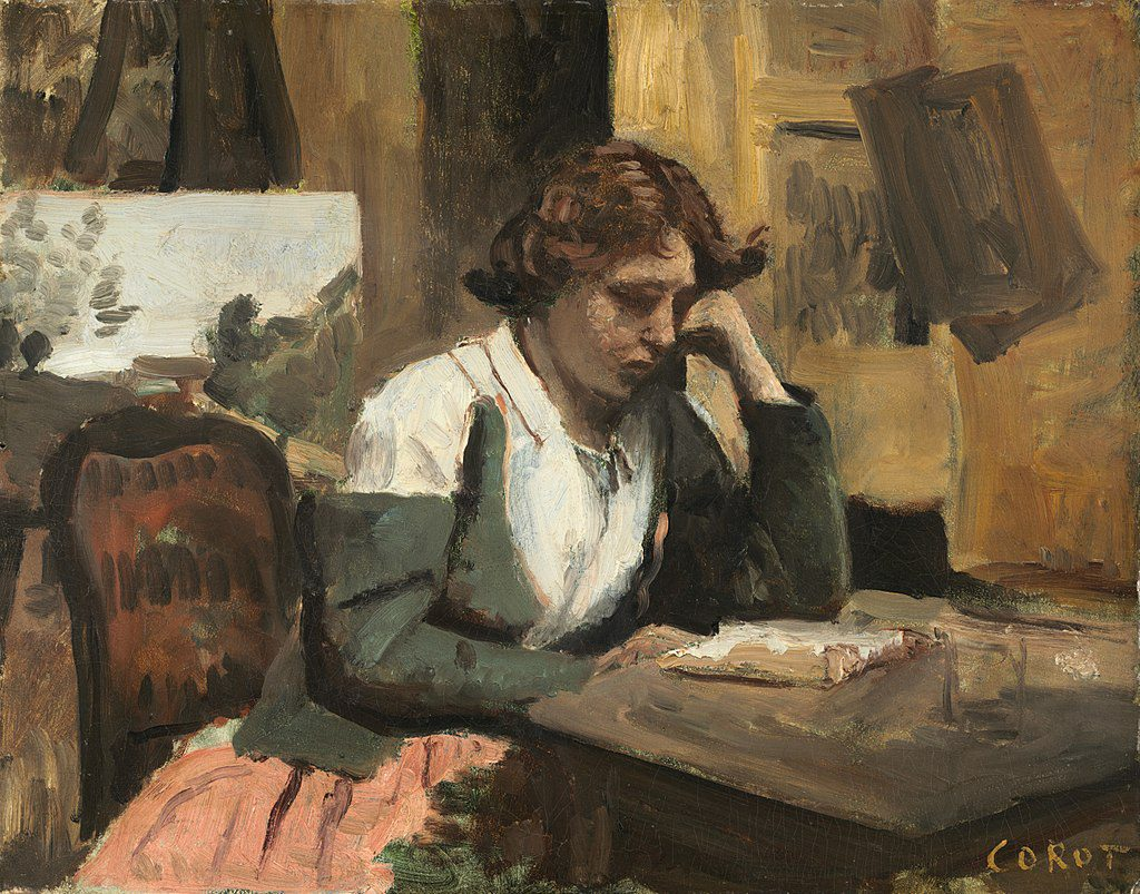 Cuadro: Young Girl Reading by Jean BaptisteCamilleCorot
