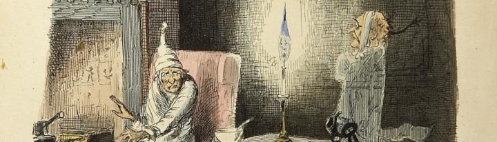 Imagen de la novela Canción de Navidad. Scrooge y el fantasma de su amigo