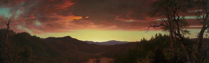 Fragmento de un cuadro de un atardecer. Twilight in the Wilderness de Frederic Edwin Church.